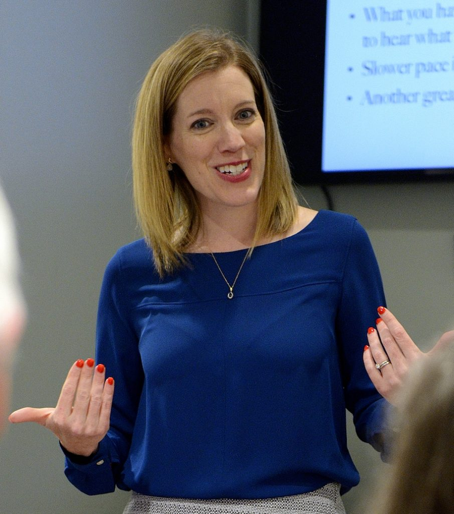 Voice and speech coach Jenni Steck teaching a corporate class
